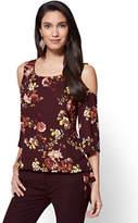 New York & Co. Soho Soft Shirt - Cold-Shoulder Blouse - Floral