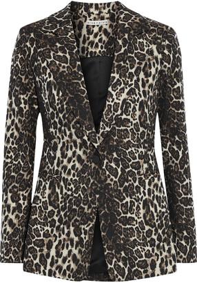 Alice + Olivia Toby Metallic Cotton-blend Leopard-jacquard Blazer