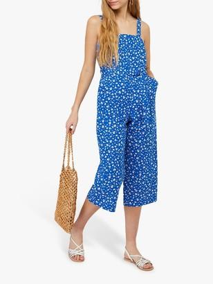 Monsoon Michelle Linen Floral Jumpsuit, Blue