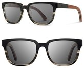 Shwood Women's 'Prescott' 52Mm Titanium & Wood Sunglasses - Black Titanium/ Walnut/ Grey