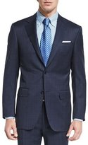 Canali Sienna Contemporary-Fit Tonal-Plaid Suit, Navy