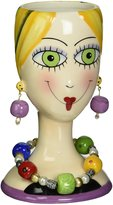 """ATD 61863 6.25"""" Multicolored Smiling Lady with Earrings and Necklace Vase"""