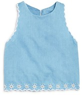 Bloomie's Girls' Embroidered Chambray Top - Sizes 2-6X