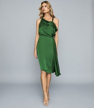 Reiss Aya - Draped Satin Midi Dress in Green