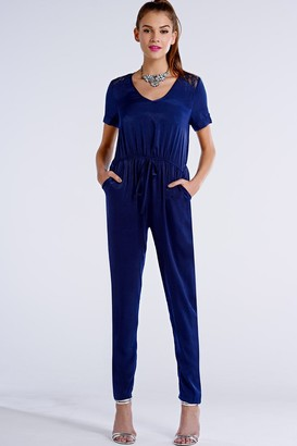 Girls On Film Navy Satin Drawstring Lace Insert Jumpsuit