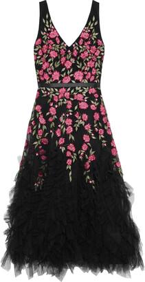 Marchesa Notte Ruffled Embellished Metallic Tulle Midi Dress