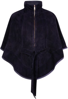 Zut London Suede Leather Cape With Belt - Navy