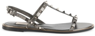 Valentino Rockstud T-Strap Leather Slingback Sandals