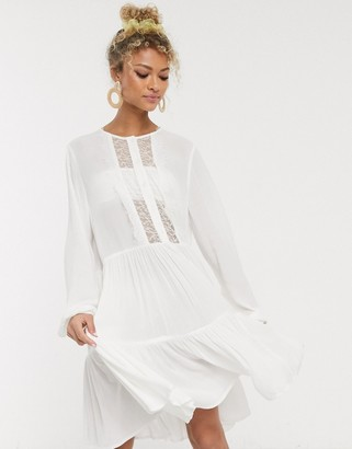 Pieces mini dress with lace detail in white