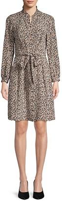 Rebecca Taylor Leopard-Print Silk Button-Front Dress