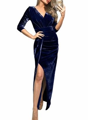 Actloe Women V Neck 3/4 Sleeve Ruched Side Slit Long Velvet Dress Blue X-Large