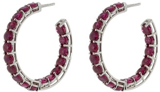 Bayco 18kt White Gold Ruby Hoop Earrings