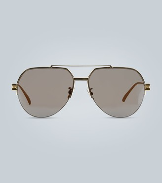 Bottega Veneta Metal frame aviator sunglasses