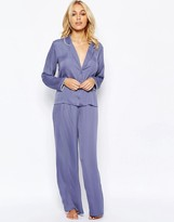 Asos Moss Satin Piped Pajama Top & Wide Leg Set