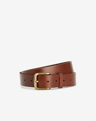 Express Dark Brown Leather Prong Buckle Belt