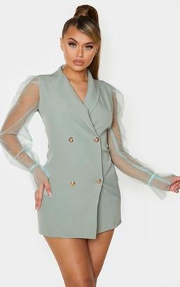 Pure Sage Green Button Up Organza Sleeve Blazer Dress