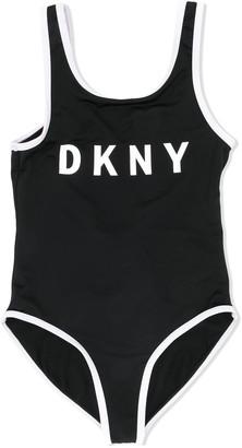 DKNY Logo Print Open Back Swimsuit
