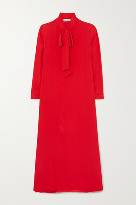 ODYSSEE Dr Hoyt Pussy-bow Crepe De Chine Maxi Dress - Red