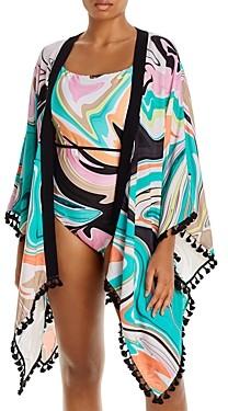 Trina Turk Plus Size Nazare Printed Kimono Swim Cover-Up