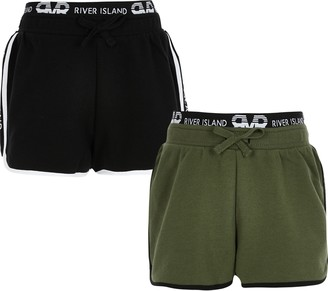 River Island Girls Black and khaki RI runner shorts 2 pack