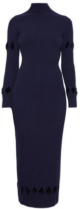 Victoria Beckham Cutout Ribbed Wool-Blend Maxi Sweaterdress