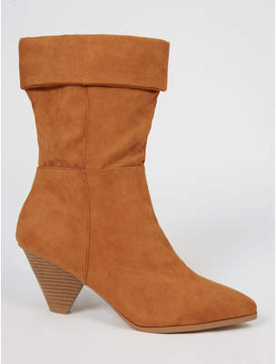George Burnt Orange Suede Effect Cone Heel Cuffed Boots