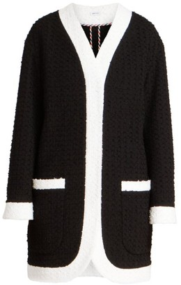 Thom Browne Eyelash Knit Drop-Shoulder Cardigan