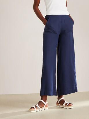 John Lewis & Partners Crop Linen Trousers, Navy