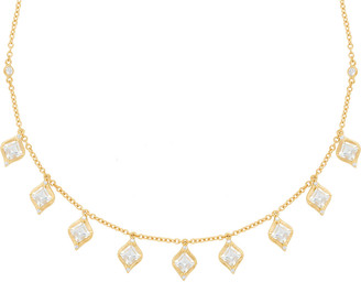 Jamie Wolf 18k Princess-Cut Drop Necklace w/ Diamond & Aquamarine