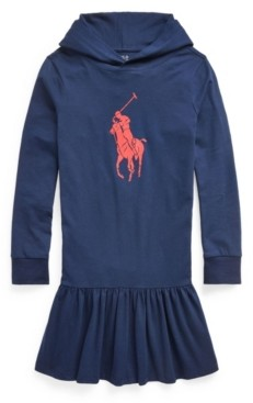 Polo Ralph Lauren Big Girls Big Pony Jersey Hooded Dress