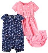 Carter's Baby Girl Floral Sunsuit & Polka-Dot Dress Set