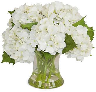 "15"" Hydrangea Arrangement - Faux - The French Bee - arrangement, white/green; vessel, clear"