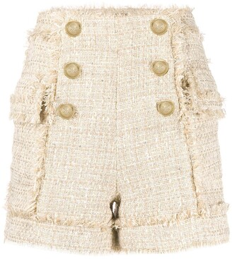 Balmain Frayed Tweed Shorts