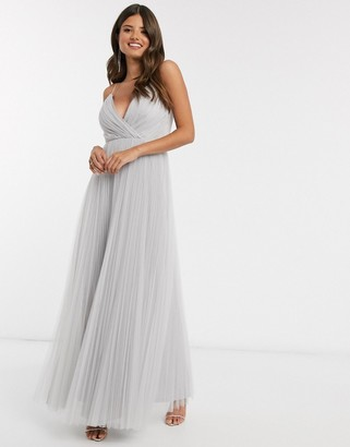 ASOS DESIGN cami pleat tulle maxi dress in silver