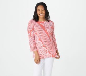 Bob Mackie White Lace Printed Knit Top