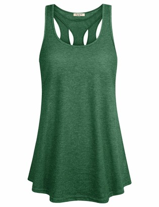 Cyanstyle Women Yoga Tank Tops Quick Dry Activewear Sleeveless Workout Gym Casual Basic Loose Fit Summer Racerback Tank Green M