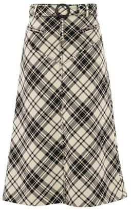 Ellery Matango Crystal-belt Check Midi Skirt - Womens - White Print
