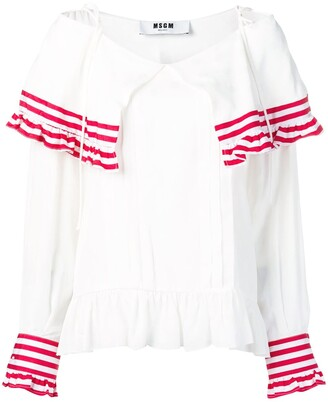 MSGM Striped Frill Blouse
