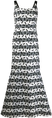 LANVIN Pre-Owned Dot Embroidery Striped Dress