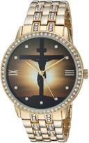 EWatchFactory Men's 'EW Jesus Cross Rnd' Quartz Metal and Alloy Casual Watch, Color:-Toned (Model: PW00192)