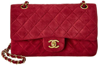 Chanel Red Quilted Suede Small Double Flap Bag