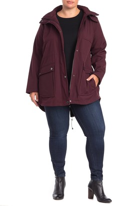 Kenneth Cole Hooded Soft Shell High/Low Jacket (Plus Size)