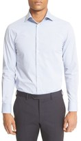 Armani Collezioni Men's Trim Fit Microstripe Dress Shirt