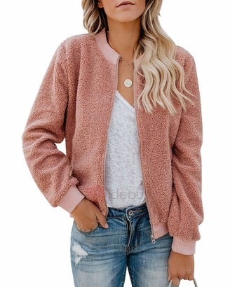 Ybenlover Women's Warm Fleece Bomber Jacket Casual Short Plush Jacket Zip with Pocket - Pink - M