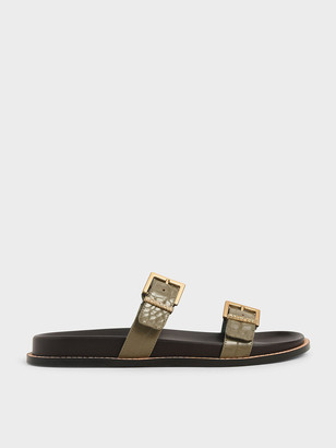 Charles & Keith Croc-Effect Buckle Double Strap Flats