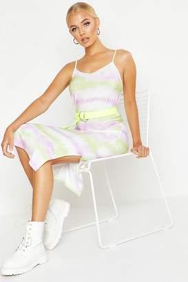 boohoo Tie Dye Satin Slip Midi Dress