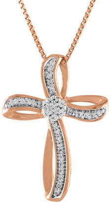 Silver Cross Fine Jewelry Diamond Blossom Womens 1/10 CT. T.W. Genuine White Diamond 14K Rose Gold Over Pendant Necklace