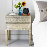 Graham and Green Embossed White Metal Two Drawer Bedside Table