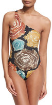 Norma Kamali Mio Floral-Print One-Shoulder Swimsuit