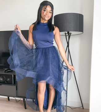 Chi Chi London high low organza dress in navy
